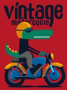 Motorcycle, Rider, Crocodile Vector Design by braingraph