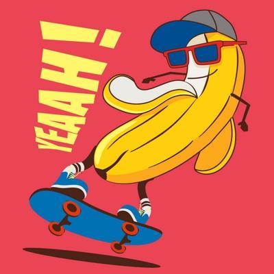 Skate and Cartoon Skater Banana Vector Character