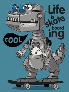 Skater, Robot Dino Vector Design by braingraph