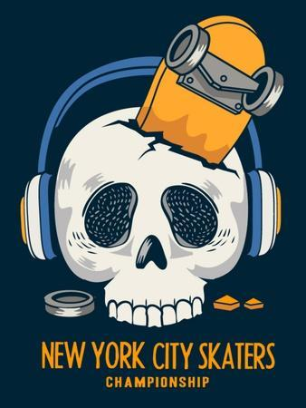 Skull, Skateboard, Vector Design Work