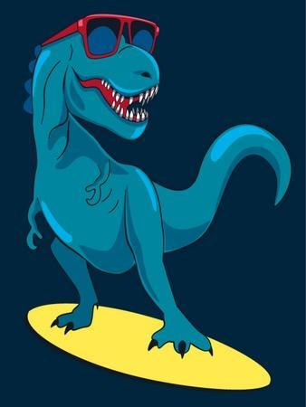 Surfer, Dinosaur, Monster Vector Design for Tee