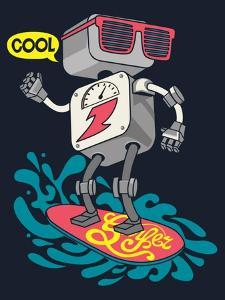 Surfer Robot Vector Design for Tee by braingraph