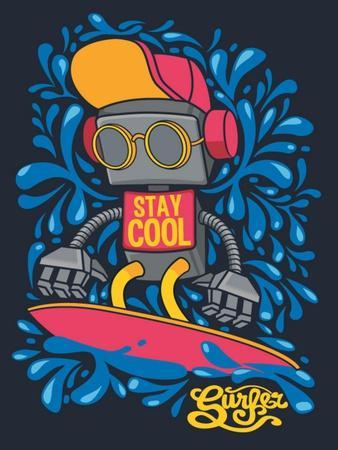 Vector Retro Robot on Surfboard, Surfer