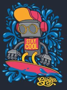 Vector Retro Robot on Surfboard, Surfer by braingraph