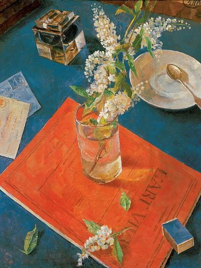 Branch of a Bird Cherry Tree in a Glass, 1932-Kuzma Sergeyevich Petrov-Vodkin-Giclee Print