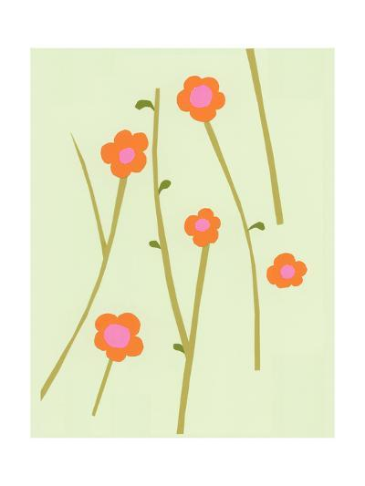 Branches of Graphic Orange Flowers on Pale Green--Art Print
