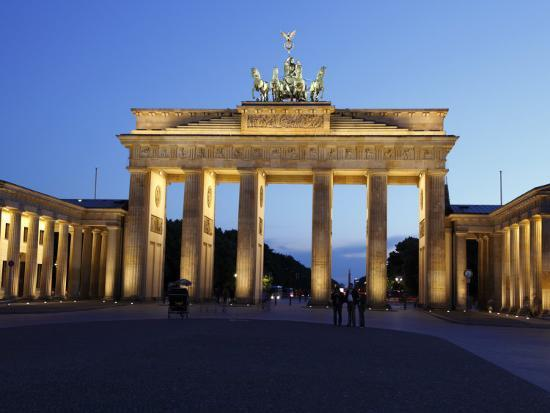 Brandenburg Gate Floodlit in the Evening, Pariser Platz, Unter Den Linden, Berlin, Germany, Europe--Photographic Print