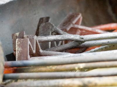 Branding Irons at Hughes Ranch near Stanford, Montana, USA-Chuck Haney-Photographic Print