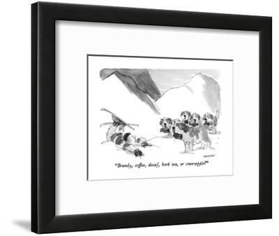 """Brandy, coffee, decaf, herb tea, or cran-apple?"" - New Yorker Cartoon-James Stevenson-Framed Premium Giclee Print"