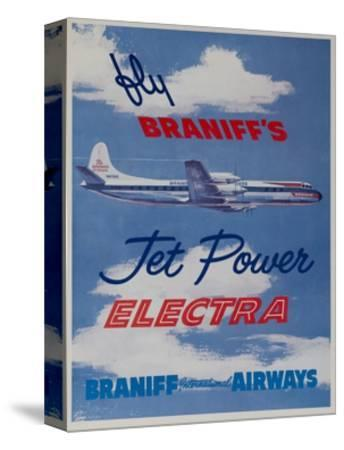 Braniff Airways Travel Poster Fly Braniff's Jet Powered Electra