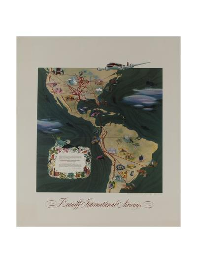 Braniff Airways Travel Poster, the Americas Route Map--Giclee Print