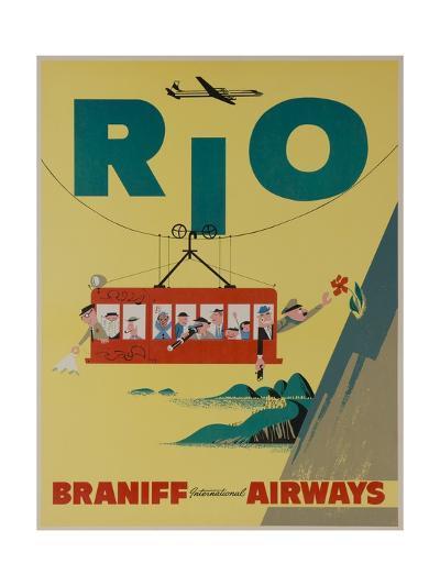 Braniff International Airways Travel Poster, Rio De Janiero Cable Car--Giclee Print