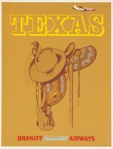 Braniff International Airways Travel Poster Texas Saddle
