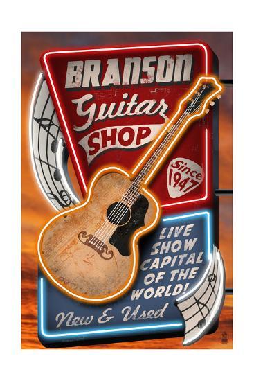 Branson, Missouri - Acoustic Guitar Music Shop-Lantern Press-Art Print