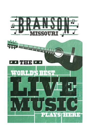 Branson, Missouri - Horizontal Guitar - Teal Screenprint-Lantern Press-Art Print