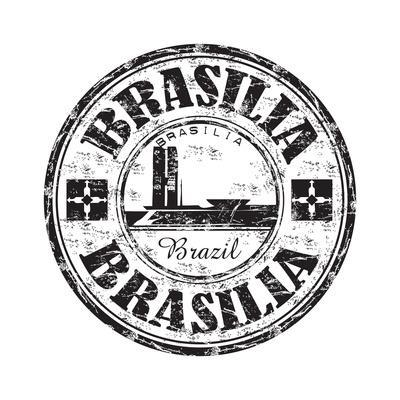 Brasilia Grunge Rubber Stamp-oxlock-Art Print
