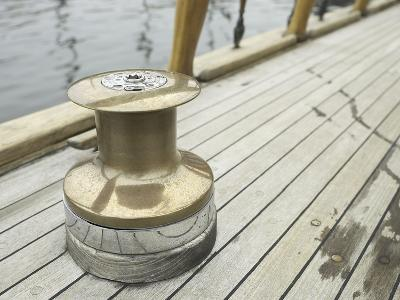 Brass Boat Moor on Wooden Pier--Photographic Print