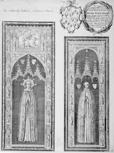 Brasses of John Newcourt and Brome Whorewood in Old St Paul's Cathedral, City of London, 1656-Wenceslaus Hollar-Giclee Print