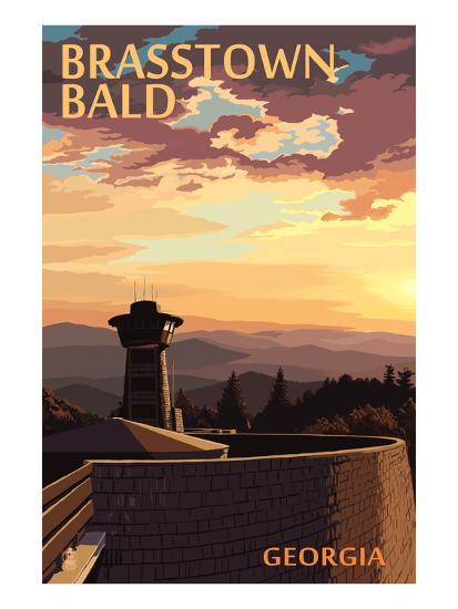 Brasstown Bald, Georgia - Sunset Scene-Lantern Press-Art Print