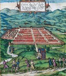 Civitates Orbis Terrarum: Cusco, View of the City and its Environs in 1576 by Braun and Hogenberg