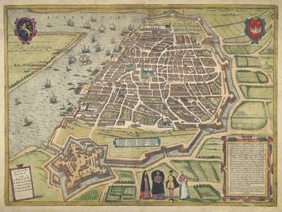 Anverpia Pars Flandre 1577 - Bird's Eye View of Antwerp