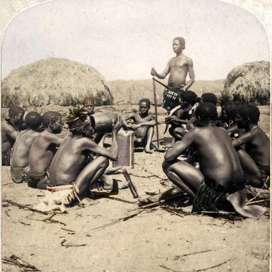 'Braves of a Zulu Village holding a Council, near the Umlaloose River, Zululand, S.A.', 1901-Unknown-Photographic Print