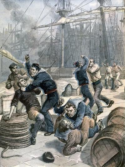 Brawl Between English and German Sailors at Millwall Docks, London, 1892-Henri Meyer-Giclee Print
