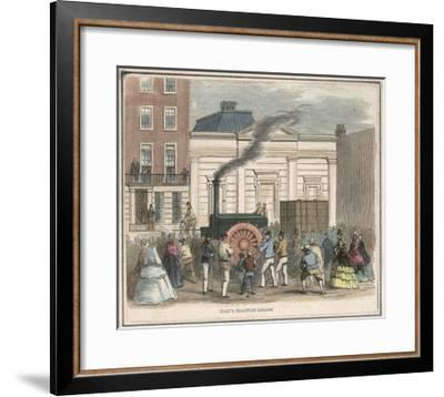 Bray's Traction Engine Impresses Passers-By as it Draws a Heavy Load Through the Streets--Framed Giclee Print