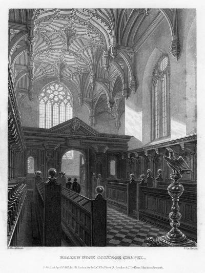 Brazen Nose (Brasenos) College Chapel, Oxford University, 1835-John Le Keux-Giclee Print