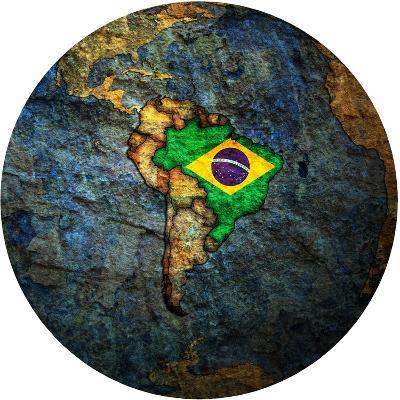 Brazil Flag On Globe Map-michal812-Art Print