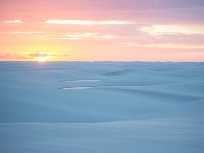 Brazil's Lencois Maranhenses National Park Sand Dunes and Lagoons at Sunset-Alex Saberi-Photographic Print