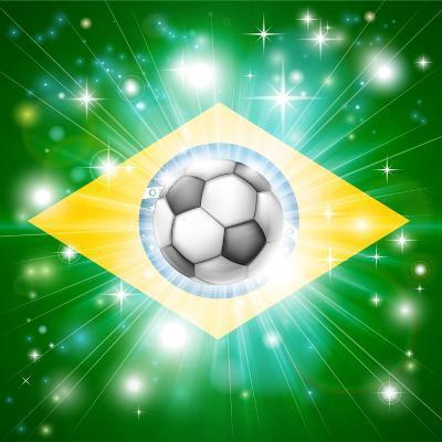 Brazil Soccer Flag-Krisdog-Art Print