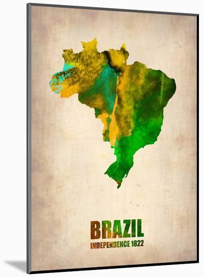 Brazil Watercolor Map-NaxArt-Mounted Print