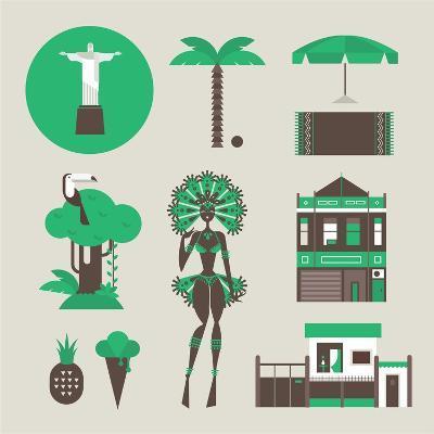 Brazillian Icons-vector pro-Art Print