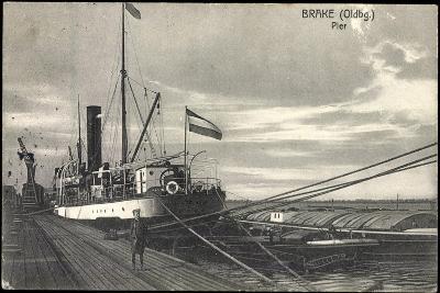 Bre Dötlingen, Blick Zur Pier, Seemann, Schiff--Giclee Print