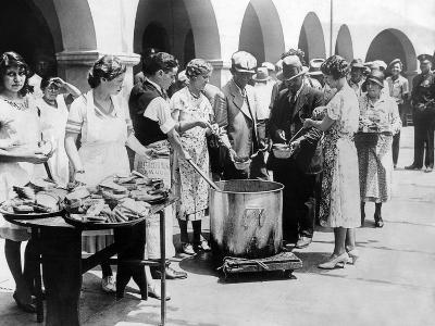 Breadline in Los Angeles Serving Soup and Bread--Photo
