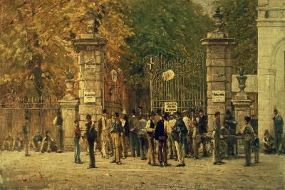 Break Time During Work on Exhibition of 1881, Painted in 1887 by Filippo Carcano (1840-1914)--Giclee Print