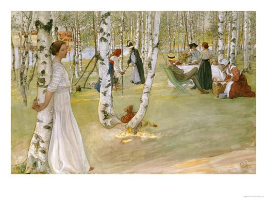 Breakfast in the Open (Frukost I Det Grona), 1910-Carl Larsson-Premium Giclee Print