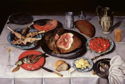Breakfast Piece with a Fish, Ham and Cherries, 1614-Jacob van Hulsdonck-Giclee Print