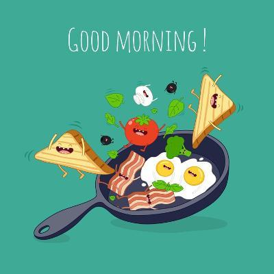 Breakfast Poster. Fried Eggs with Bacon on a Blue Pan. Vector Illustration- Serbinka-Art Print