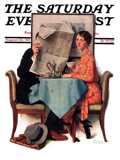 """Breakfast Table"" or ""Behind the Newspaper"" Saturday Evening Post Cover, August 23,1930-Norman Rockwell-Giclee Print"
