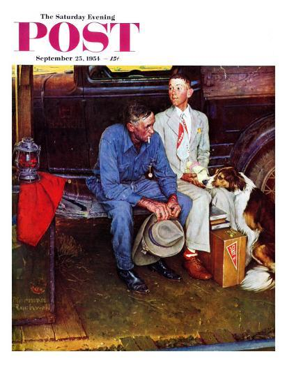 """Breaking Home Ties"" Saturday Evening Post Cover, September 25,1954-Norman Rockwell-Giclee Print"