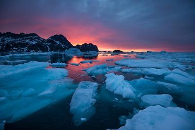 Breaking Ice at Sunrise-Andy Mann-Photographic Print