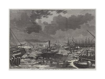 Breaking Up of the Ice at New York, a View from the East River-Harry Fenn-Giclee Print
