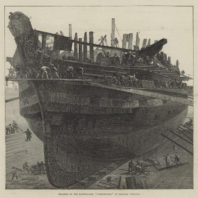 Breaking Up the Hospital-Ship Dreadnought at Chatham Dockyard--Giclee Print