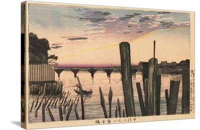 Breakwater Stakes and Ry?goku Bridge-Kobayashi Kiyochika-Stretched Canvas Print
