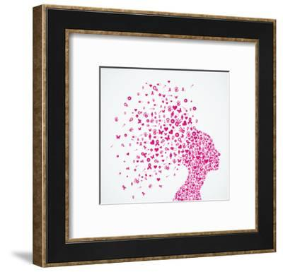 Breast Cancer Awareness Ribbon - Woman's Head-cienpies-Framed Premium Giclee Print