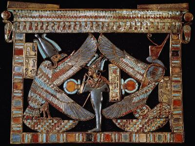Breastplate with Isis, Osiris and Nephthys, Gold and Lapis Lazuli, from Tomb of Tutankhamun--Giclee Print