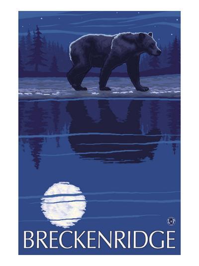 Breckenridge, Colorado, Bear in the Moonlight-Lantern Press-Art Print
