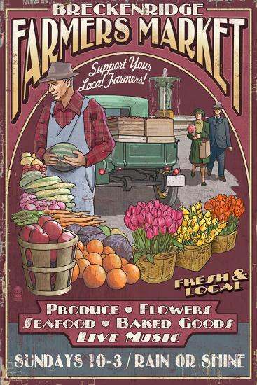 Breckenridge, Colorado - Farmers Market Vintage Sign-Lantern Press-Art Print